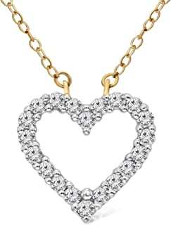 100% Pure Diamond Necklace Heart Necklace 1/2 cttw Lab Grown Diamond Heart Pendant Lab Created Diamond Necklace SI-GH Quality 14K Yellow Gold Real Diamond Pendant