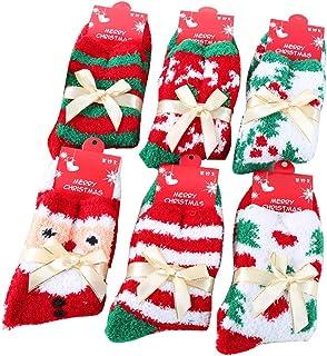 6 pares Calcetines de Navidad para chica mujer multicolor de Navidad, diseño rayas Zambaiti Calcetines Calcetines Stockings Invierno Diseños Navideños Unisex