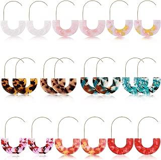 Hanpabum 10 Pairs Resin Drop Hoop Dangle Earrings Lightweight Acrylic Tortoise Shell Acetate Statement Earrings in Bohemian Style for Women Girls
