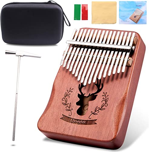 Kalimba Piano Pouce de Clés 17 Marimbas, Oxsaytee Thumb Piano Mbira Haute Qualité Instrument de Musique avec Tuner ma...
