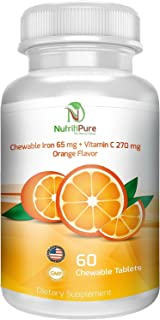 Chewable Iron 65 mg with Vitamin C 270 mg - Tablet in Orange Flavor (1)