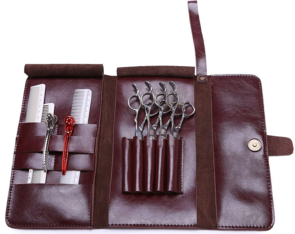 Scissor Pouch Holster for Hairdressers, Salon Hair Stylist Barber Scissors Shear Hairdressing Holder Case Bag, Real Leather-Brown