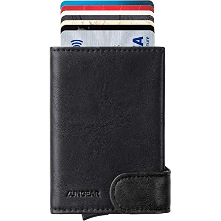 LUNGEAR Credit Card Holder RFID Blocking Leather Pop Up Card Case with Banknote & ID Window Slim Bifold Men Wallet Holds 4-6 Cards & Cash, Black