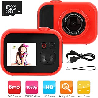 slopehill Kids Camera - 8MP Kid Digital Camera Gifts for Age 3-12 Years Old Boys Girls, 1080P High-Resolution LCD Screen Video Camcorder, USB Rechargeable Selfie Camera with 32GB SD Card (Red)