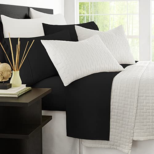 2021 Zen outlet sale Bamboo Luxury 1500 Series Bed Sheets - Eco-friendly, Hypoallergenic online sale and Wrinkle Resistant Rayon Derived From Bamboo - 4-Piece - Full - Black online