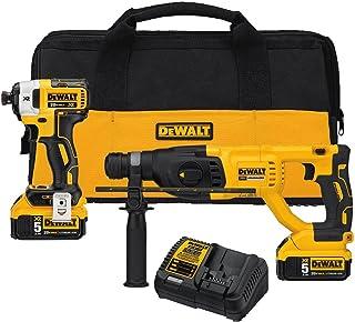 DEWALT 20V MAX XR Rotary Hammer Drill and Impact Driver Kit, 1-Inch SDS Plus (DCK233P2)