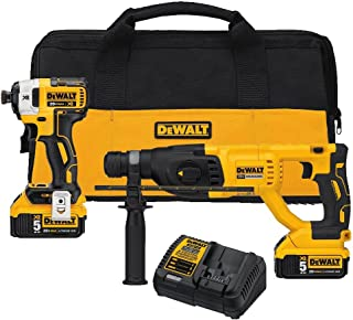 DEWALT 20V MAX XR Rotary Hammer Drill and Impact Driver Kit, 1-Inch SDS Plus (DCK233P2)