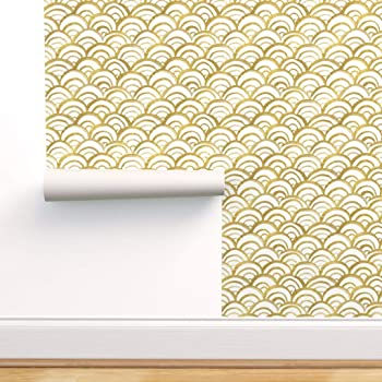 Spoonflower Peel And Stick Removable Wallpaper White And Gold Waves Painted Scallop Texture Print Self Adhesive Wallpaper 12in X 24in Test Swatch Amazon Com