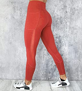 Sexy Hip Leggings Solid Color Workout leggings, Women Clothes High Waist Pocket Side Lace Leggins Sports Tights