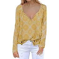 MIHOLL Women's Casual Tops Long Sleeve V Neck Printed Chiffon Blouse Loose Shirts