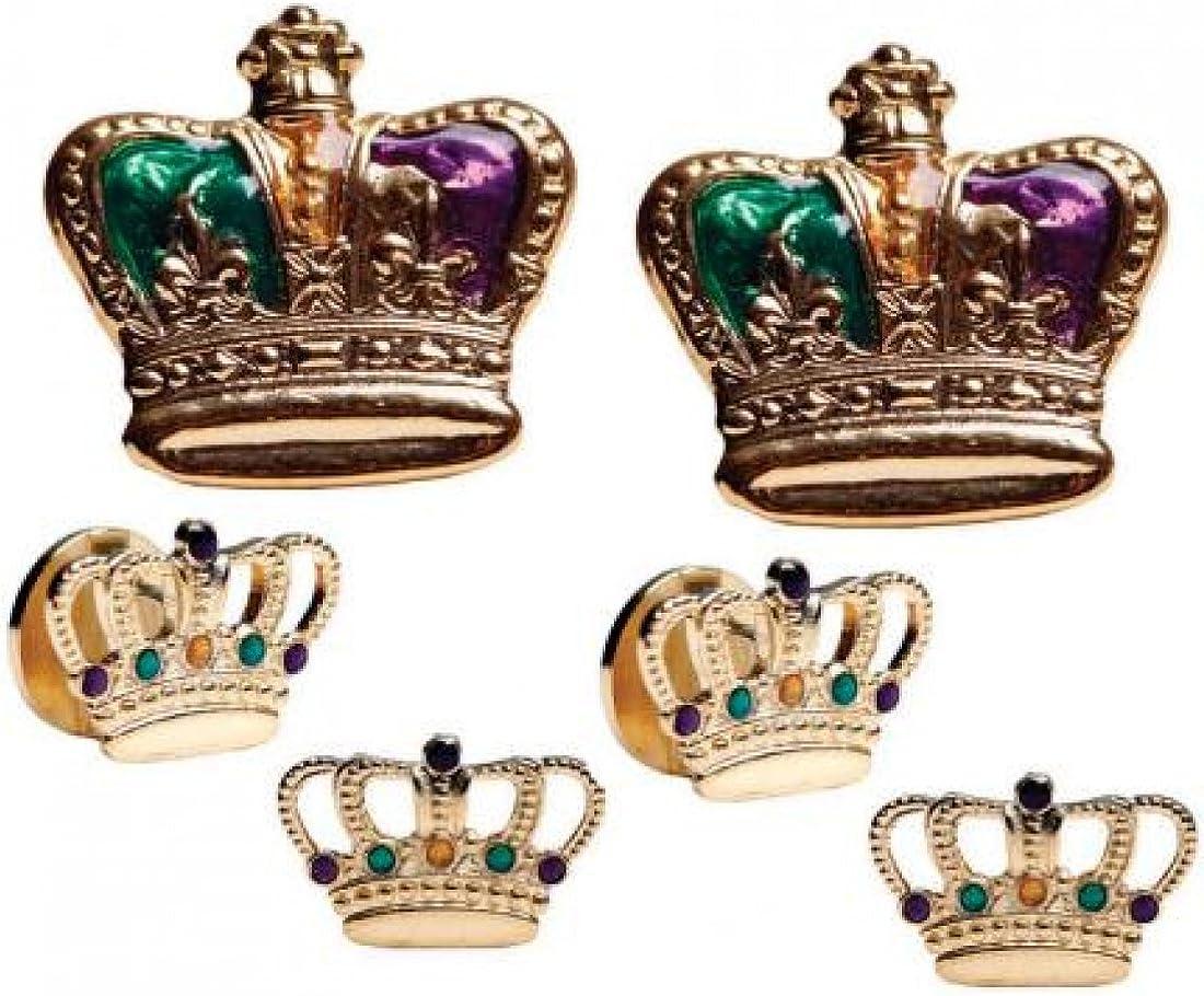 Mardi Gras Colored Crowns Gold Trim Tuxedo Studs and Cufflinks