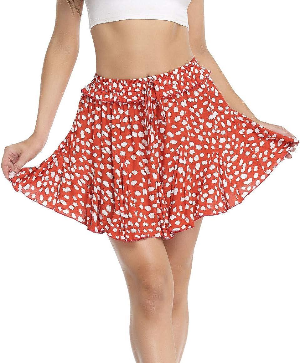 Anienaya Floral Mini Ruffle Skirt for Women High Waist Flared Swing Drawstring Beach Short Skirts