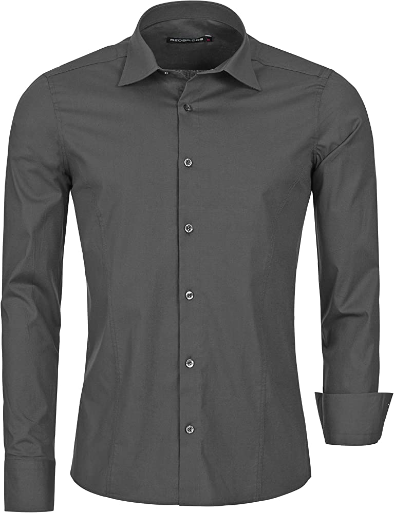 Redbridge, camicia per uomo, 97% cotone, 3% elastan, grigio antracite R-2111N