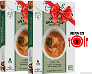 8-SERVING Chicken Tikka Masala or Chicken Curry Indian Food Spice Sets Supports Food Charity - 2 pack, Gluten-Free, Salt-Free, Exactly Measured Organic Ethnic Spices for Indian Cooking from Scratch