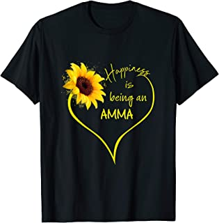 Happiness is being Amma Flower Heart Tshirt