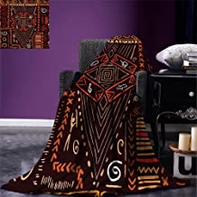 Fenlin Primitive Throw Blanket Aboriginal Style Patterns Tribal Motifs Objects Collage of Cave Pictures Print Warm Microfiber All Season Blanket for Bed or Couch Black Orange