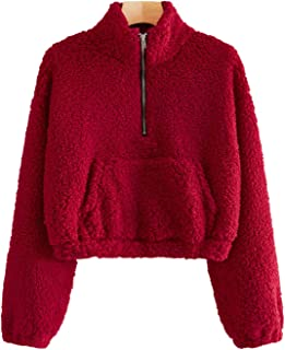 Milumia Women's Stand Collar Half Zip Drawstring Hem Crop Pullover Teddy Warm Sweatshirts Outwear