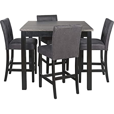 Roundhill Furniture Collection Biony Espresso Wood Counter Height Dining Set With Gray Fabric Nailhead Stools Chairs