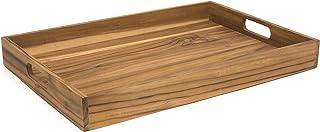 "Lipper International Teak Wood Large Serving Tray with Cutout Handles, 20-1/2"" x 13-3/4"" x 2-2/5"""