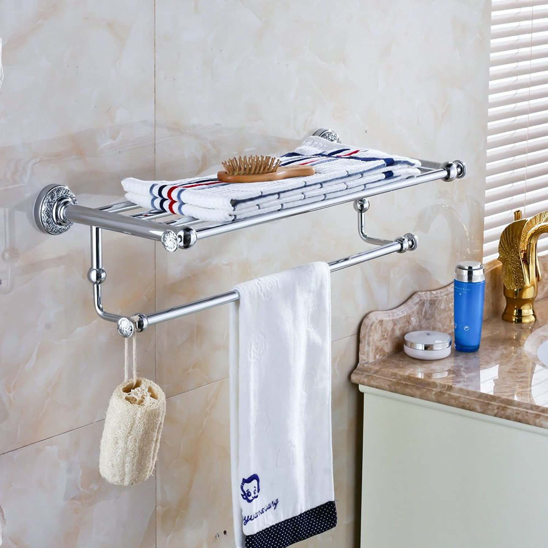 Hiendure Wall Mount Solid Brass Bathroom Shelf Towel Rack and Bar Towel Shelf-2 Chrome