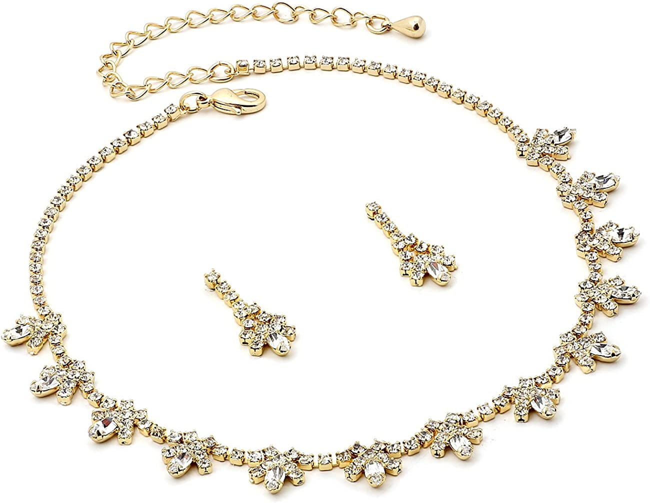 Topwholesalejewel Gold Crystal Rhinestone Necklace with Ribbon Accents & Matching Dangle Earrings Jewelry Set
