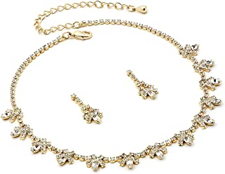 Gold Crystal Rhinestone Necklace with Ribbon Accents & Matching Dangle Earrings Jewelry Set