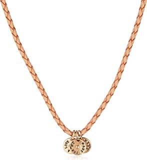 Esprit Unisex Necklace 925 Sterling Silver Rhodium Plated Leather love medal 40 CM ESNL92217A400