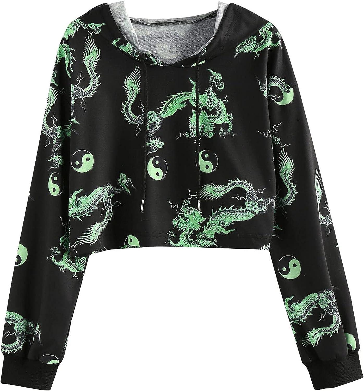 UOCUFY Hoodies for Women, Womens Sweatshirt Casual Long Sleeve Letter Print Hoodie Pullover Loose Drawstring Crop Tops