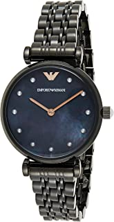 Emporio Armani Women's Black Dial Stainless Steel Analog Watch - AR11268