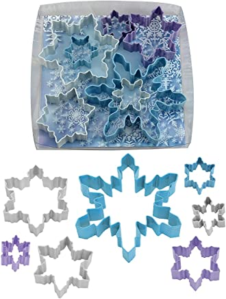 R&M International 1885 Snowflake Cookie Cutters, Assorted Designs and Accents, 5-Piece Set Snowflakes 7-Piece Set (Polyresin Coated) Blue