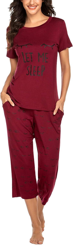 Ekouaer Women's Pajama Set Tops with Capri Pants Sleepwear