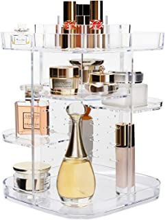 AMEITECH 360-Degree Makeup Organizer, DIY Adjustable Rotating Cosmetic Storage Carousel Spinning Holder Storage Rack with 5 Layers Large Capacity, Best for Countertop, Square