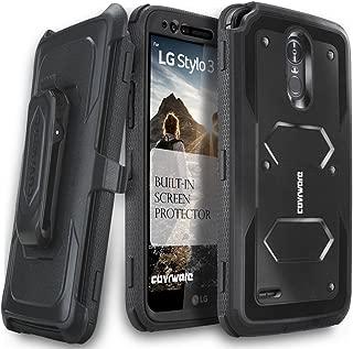 LG Stylo 3 / LG Stylo 3 Plus Case, COVRWARE [Aegis Series] w/Built-in [Screen Protector] Heavy Duty Full-Body Rugged Holster Armor Case [Belt Swivel Clip][Kickstand], Black