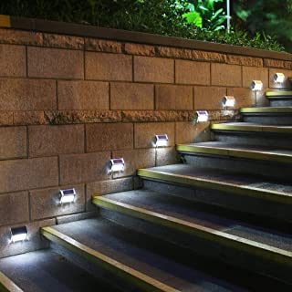[Upgraded 3 LED] GVSHINE 8 Pack 3 LED Solar Bright Step Light Stairs Pathway Deck Garden Lamps Stainless Steel Wall Yard Outdoor Fence Illuminates Patio Lamps Lighting Waterproof Solar Power Light