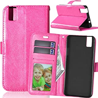 JUJIANFU-Phone Case for Huawei Honor 7i/for Huawei Shot X Solid Color Premium PU Leather Wallet Magnetic Buckle Design Flip Folio Protective Case Cover with Card Slot/Stand (Color : Rose)