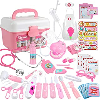Anpro 46Pcs Medical Toy Kids Doctor Pretend Play Kit, Pretend Play Set with Stethoscope for Kids Doctor Role Play Costume ...