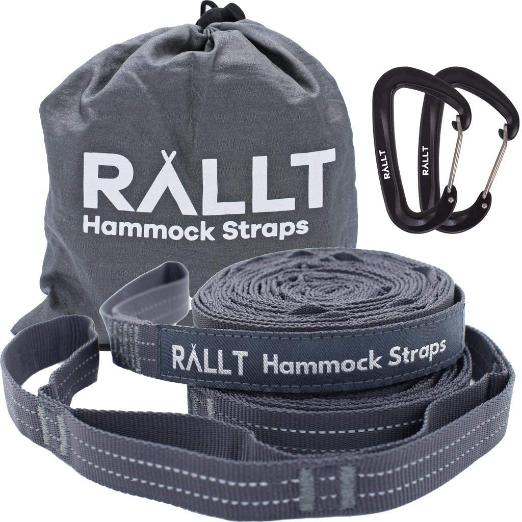 Rallt Hammock Tree Straps - 2000+ LB Breaking Strength, 20 Feet Long, 36 Loops, 100% No Stretch Polyester Adjustable Suspension Kit with 12 kN Carabiners : Patio, Lawn & Garden