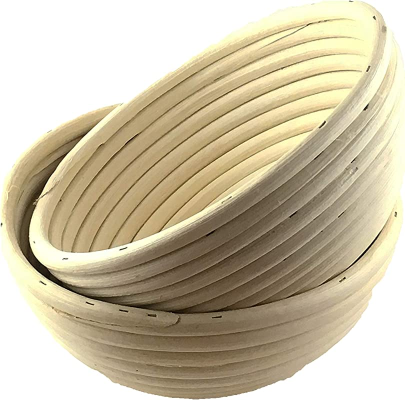 7 Inch Round Proofing Basket Pack Of 2 By Artisan Baking Co Manufactured For Professional Made Of Rattan Great For Homemade Sour Dough Bread 2