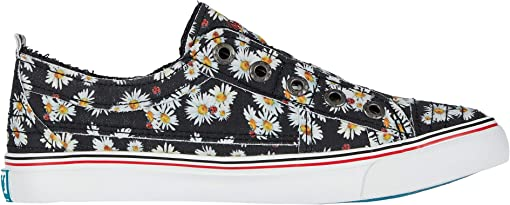 Black Lazy Daisy Print Canvas