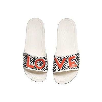 Crocs Drew x Crocs Sloane Chevron Slide (White) Women