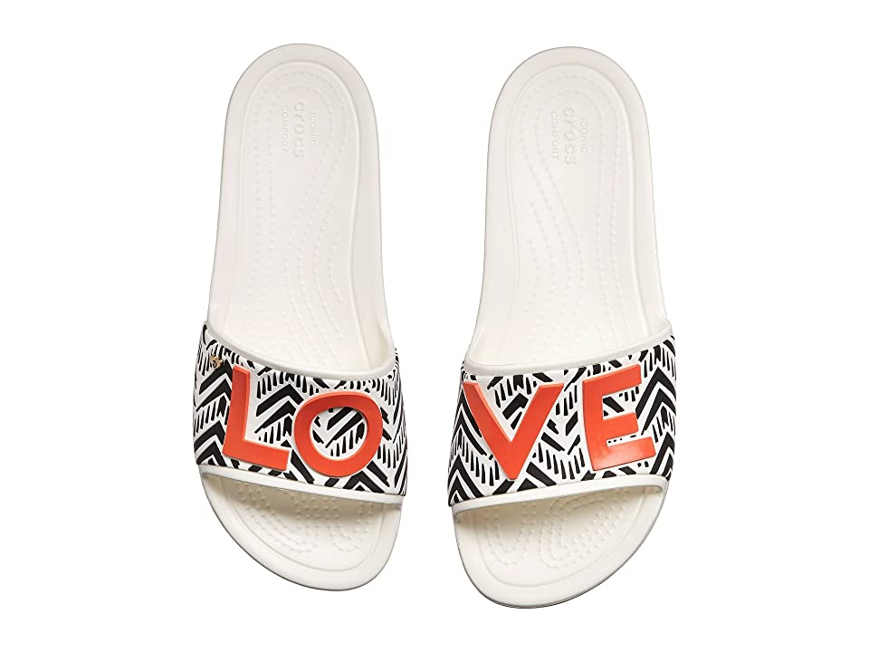 Crocs Drew x Crocs Sloane Chevron Slide (White) Women
