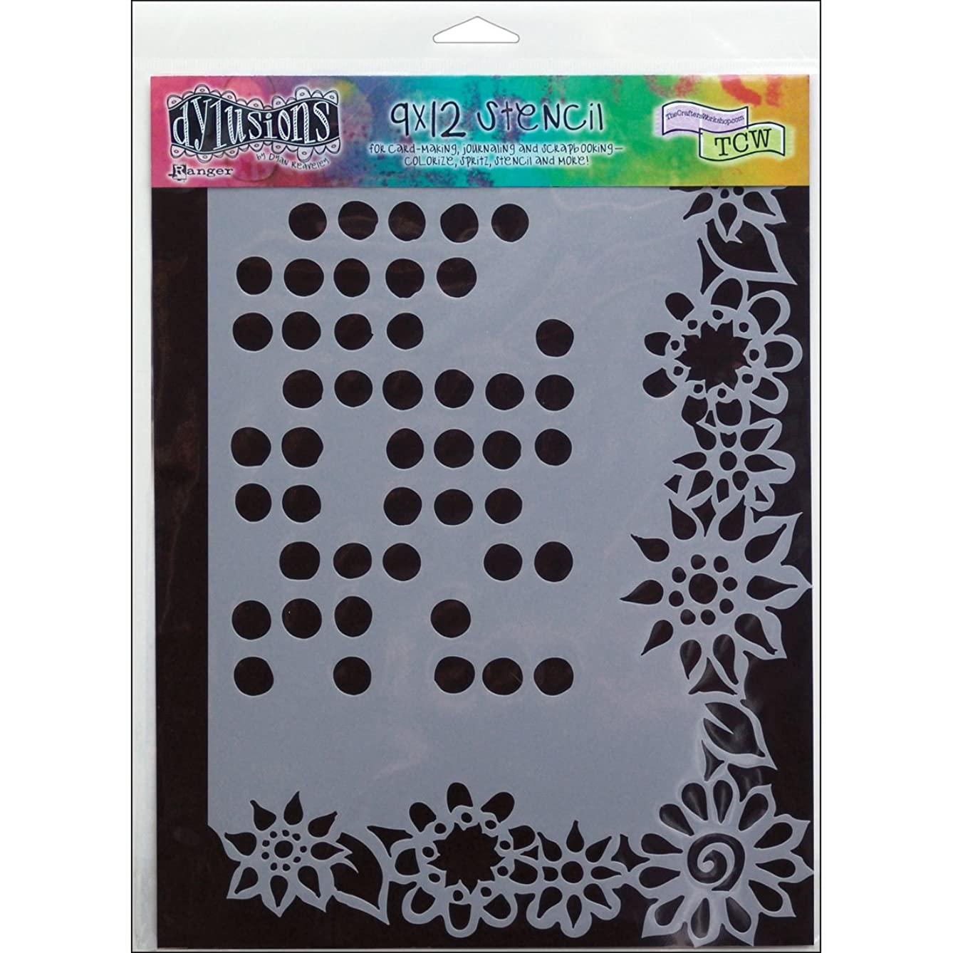Ranger DYSL-34018 Dyan Reaveley's Dylusions Stencils, 9 by 12-Inch, Dotted Flowers