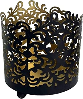 Hosley 4.5 Inch High Metal Black Finish Geometric Pattern Jar Holder Candle Sleeve. Tea Light Lantern. Ideal Gift for Spa Aromatherapy Weddings. Use with Tealights Votive. O6