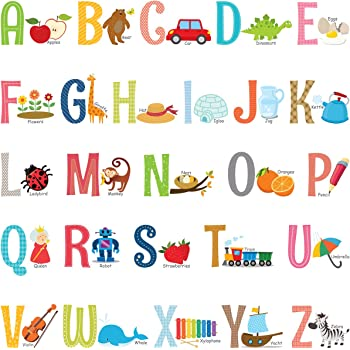 DECOWALL DW-2006 Animal Alphabet Train Kids Wall Stickers Wall Decals Peel and Stick Removable Wall Stickers for Kids Nursery Bedroom Living Room