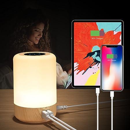 Taipow Lampe de Chevet USB Tactile, 4 Prises USB, Lampe Chambre Bois Pour Adultes, Lampe de Table Connectée Veilleuse Couleur RGB Pour Enfant, Minuterie éteinte (EU Plug)