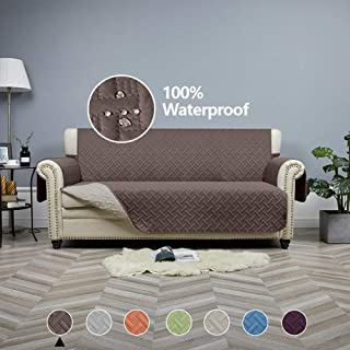 STONECREST Sofa Cover Waterproof, Reversible Slipcover Washable Furniture Protector for Kids, Seat Width Up to 68 Inches with Straps (Chocolate/Khaki, 68 Sofa)