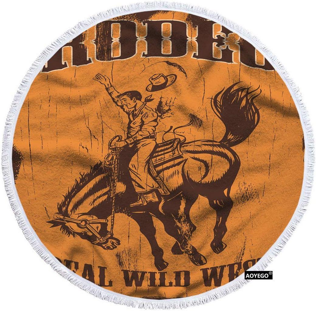 AOYEGO Man 送料無料激安祭 初回限定 Riding Bucking Bronco Beach Real Rodeo Wild Towel Wes