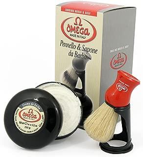 Omega 46065 Shaving Brush Set - Pure Bristle Shaving Brush, Stand, and 150 Milliliter Classic Shaving Cream with Eucalyptus Oil