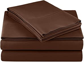 Daybed Sheet Set-Chocolate Solid 400 Thread Count 100% Cotton,Long-Staple Combed Pure Natural Cotton Bedsheets, Soft & Silky Sateen Weave-Twin (39