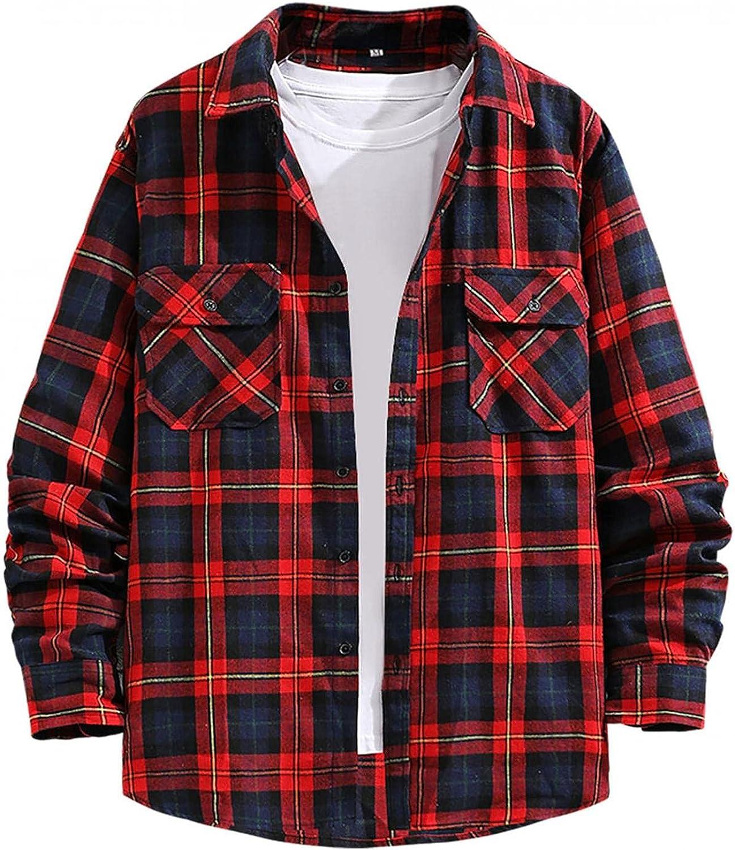 PHSHY Mens Plaid Button Down Shirt Thick Thermal T Shirt Winter Warm Sherpa Lined Regular Fit Long Sleeve Shirts Tops